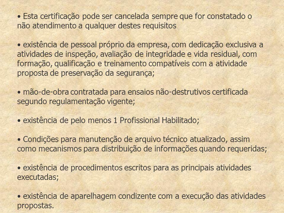 Esta certificação pode ser cancelada sempre que for constatado o não atendimento a qualquer destes requisitos existência de pessoal próprio da empresa