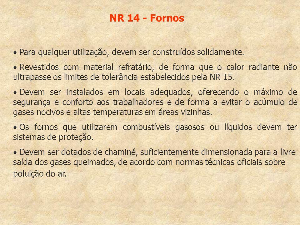 NR 14 - Fornos Para qualquer utilização, devem ser construídos solidamente. Revestidos com material refratário, de forma que o calor radiante não ultr