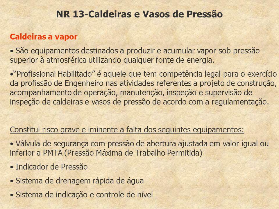 NR 13-Caldeiras e Vasos de Pressão Caldeiras a vapor São equipamentos destinados a produzir e acumular vapor sob pressão superior à atmosférica utiliz