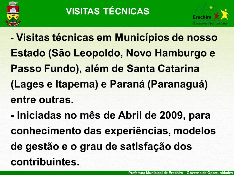 Prefeitura Municipal de Erechim – Governo de Oportunidades VISITAS TÉCNICAS - Visitas técnicas em Municípios de nosso Estado (São Leopoldo, Novo Hambu