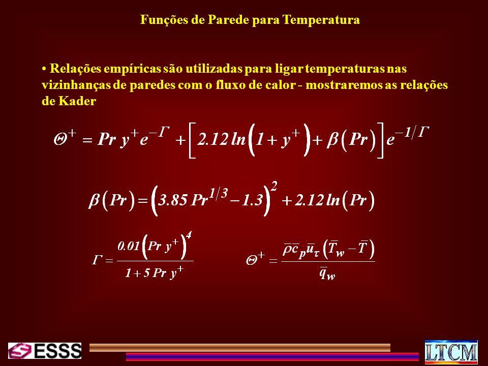 Funções de Parede para Temperatura Relações empíricas são utilizadas para ligar temperaturas nas vizinhanças de paredes com o fluxo de calor - mostrar