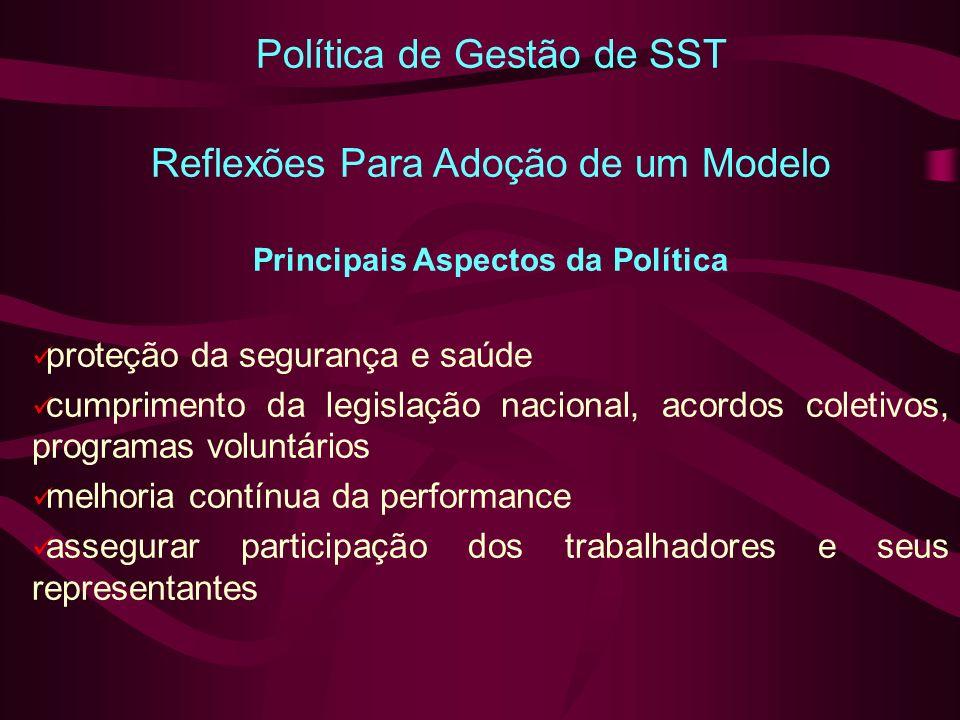 Política de Gestão de SST Reflexões Para Adoção de um Modelo Principais Aspectos da Política proteção da segurança e saúde cumprimento da legislação nacional, acordos coletivos, programas voluntários melhoria contínua da performance assegurar participação dos trabalhadores e seus representantes