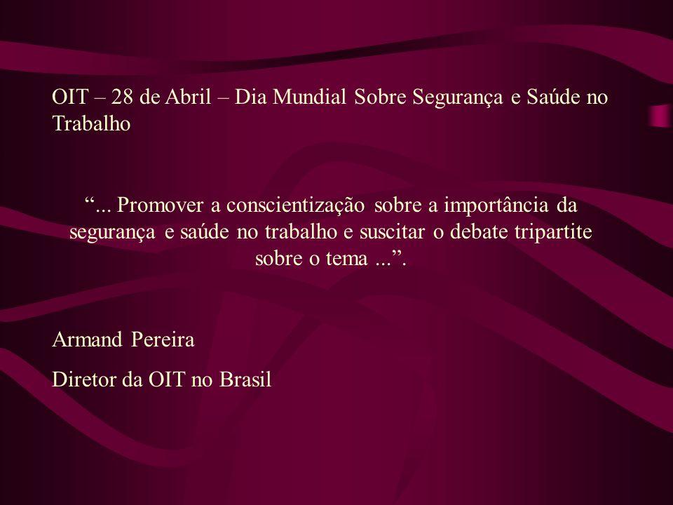 OIT – 28 de Abril – Dia Mundial Sobre Segurança e Saúde no Trabalho...
