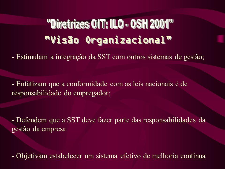 - Estimulam a integração da SST com outros sistemas de gestão; - Enfatizam que a conformidade com as leis nacionais é de responsabilidade do empregador; - Defendem que a SST deve fazer parte das responsabilidades da gestão da empresa - Objetivam estabelecer um sistema efetivo de melhoria contínua