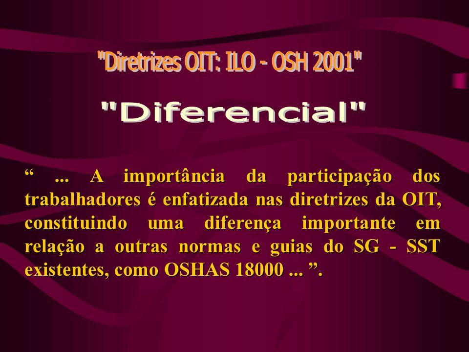... A importância da participação dos trabalhadores é enfatizada nas diretrizes da OIT, constituindo uma diferença importante em relação a outras norm