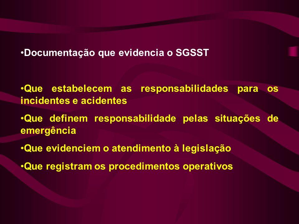 Documentação que evidencia o SGSST Que estabelecem as responsabilidades para os incidentes e acidentes Que definem responsabilidade pelas situações de emergência Que evidenciem o atendimento à legislação Que registram os procedimentos operativos