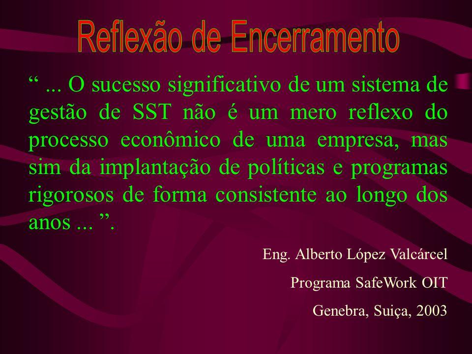 ... O sucesso significativo de um sistema de gestão de SST não é um mero reflexo do processo econômico de uma empresa, mas sim da implantação de polít
