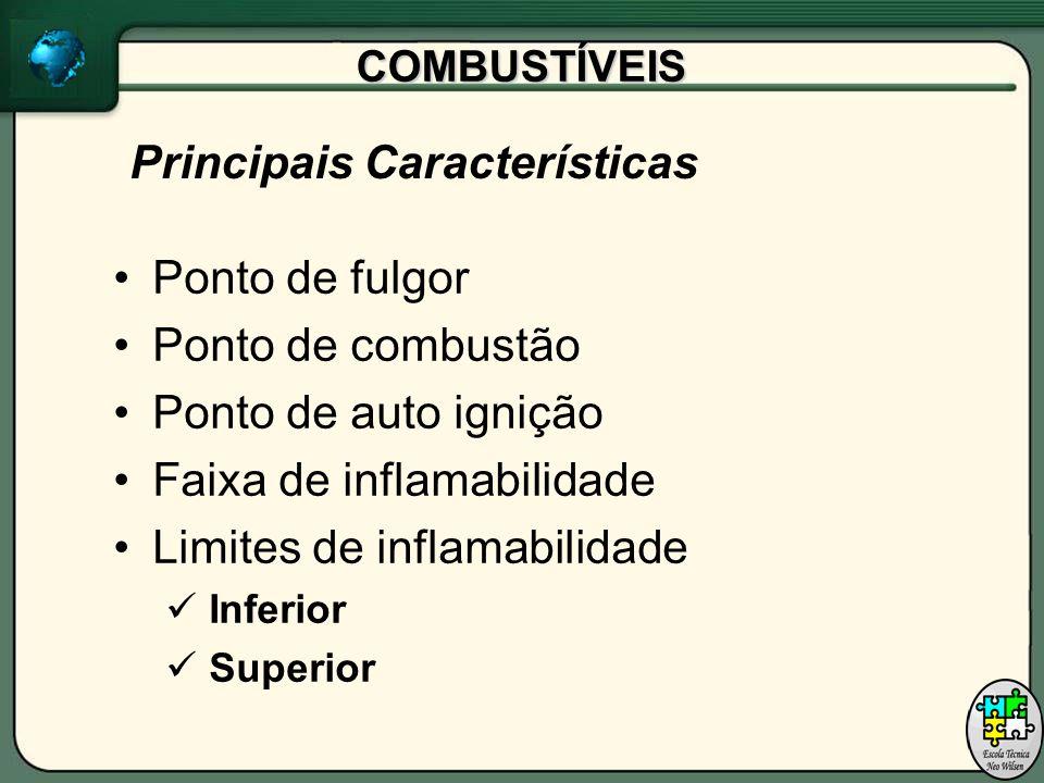 COMBUSTÍVEIS Ponto de fulgor Ponto de combustão Ponto de auto ignição Faixa de inflamabilidade Limites de inflamabilidade Inferior Superior Principais Características