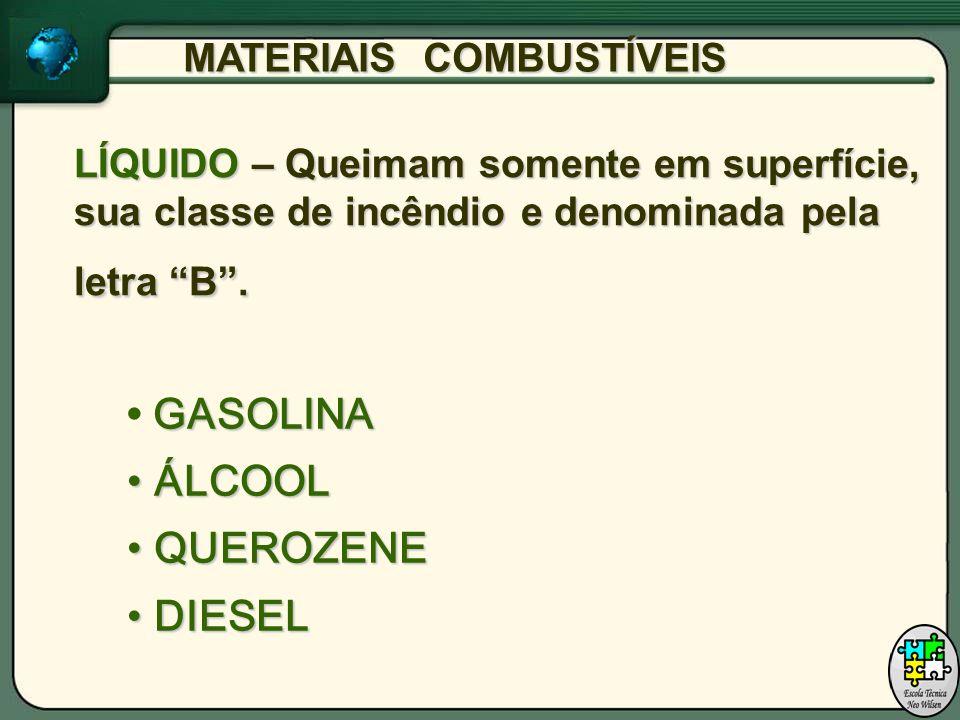 LÍQUIDO – Queimam somente em superfície, sua classe de incêndio e denominada pela letra B.