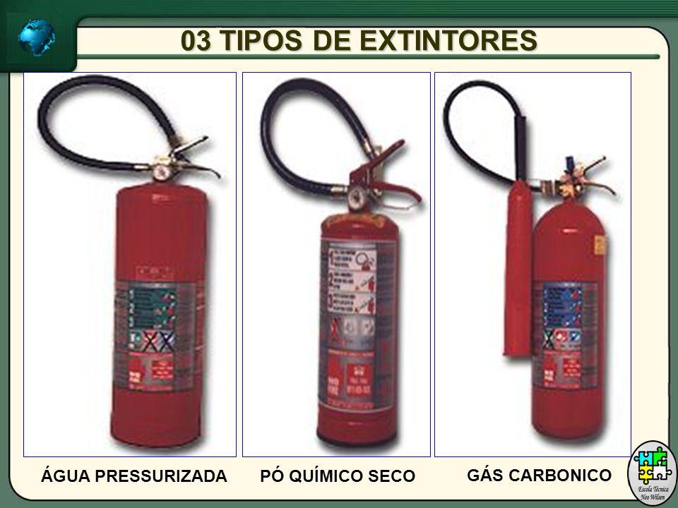 03 TIPOS DE EXTINTORES GÁS CARBONICO PÓ QUÍMICO SECOÁGUA PRESSURIZADA