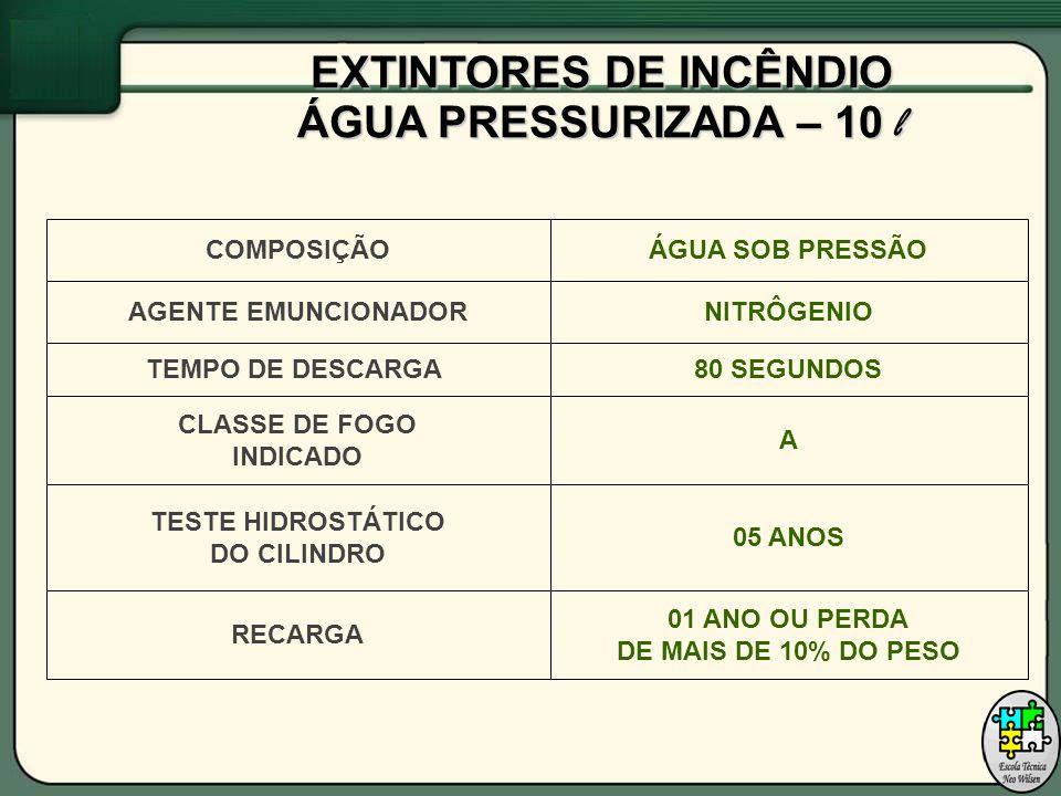 COMPOSIÇÃOÁGUA SOB PRESSÃO TEMPO DE DESCARGA80 SEGUNDOS CLASSE DE FOGO INDICADO A TESTE HIDROSTÁTICO DO CILINDRO 05 ANOS RECARGA 01 ANO OU PERDA DE MAIS DE 10% DO PESO AGENTE EMUNCIONADORNITRÔGENIO EXTINTORES DE INCÊNDIO ÁGUA PRESSURIZADA – 10 l