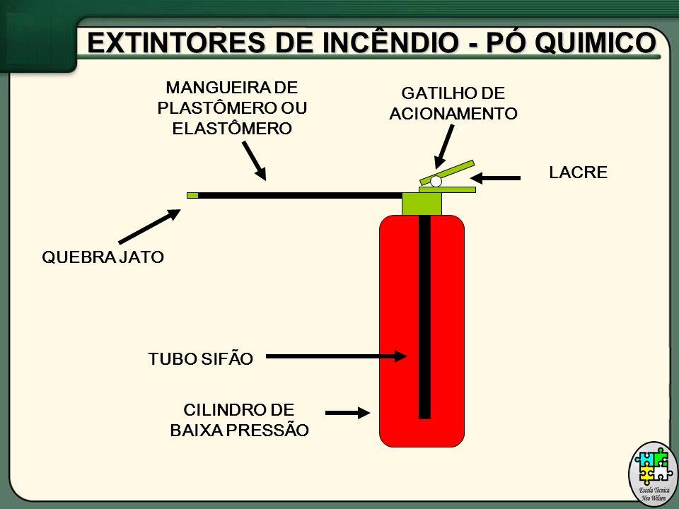 CILINDRO DE BAIXA PRESSÃO TUBO SIFÃO GATILHO DE ACIONAMENTO MANGUEIRA DE PLASTÔMERO OU ELASTÔMERO QUEBRA JATO LACRE EXTINTORES DE INCÊNDIO - PÓ QUIMICO