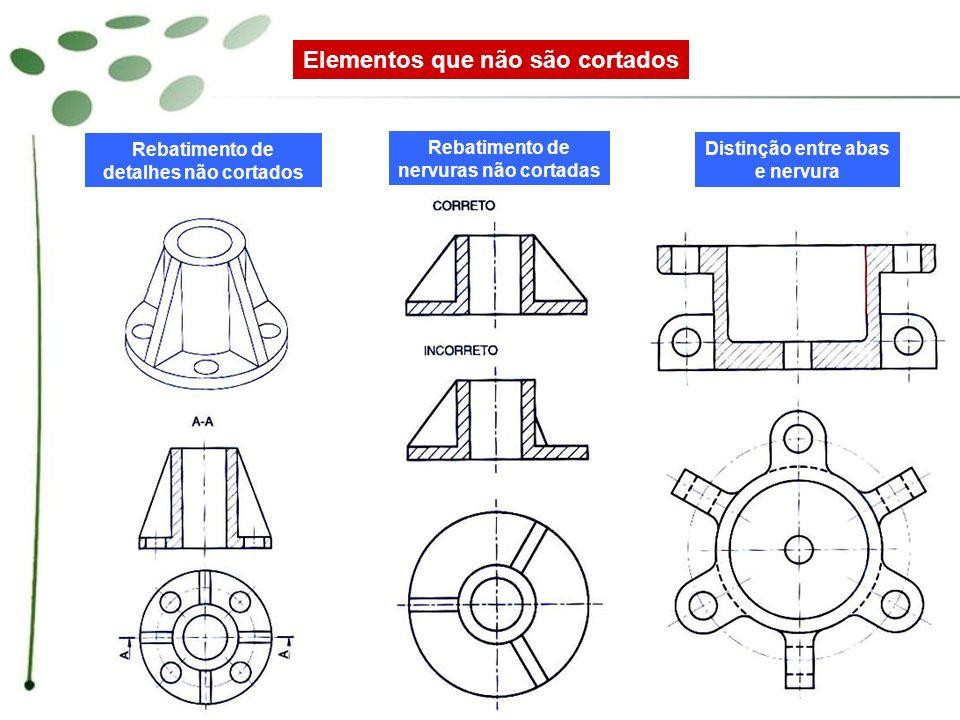 Elementos que não são cortados Rebatimento de nervuras não cortadas Distinção entre abas e nervura Rebatimento de detalhes não cortados