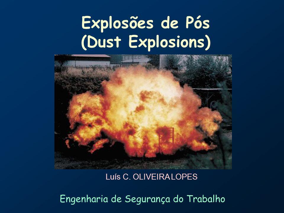 Explosão de Pós ( Dust Explosions) Slide 2 Conteúdo Introdução: Explosão Classificações e Tipos A explosão de nuvem de pós Condições e locais de risco Fatores Influência de Fatores Granulometria Concentração Experimentação Prevenção Minimização de Estragos Conclusão