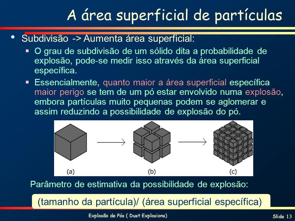 Explosão de Pós ( Dust Explosions) Slide 13 A área superficial de partículas Subdivisão -> Aumenta área superficial: O grau de subdivisão de um sólido