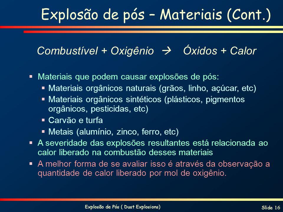 Explosão de Pós ( Dust Explosions) Slide 16 Materiais que podem causar explosões de pós: Materiais orgânicos naturais (grãos, linho, açúcar, etc) Mate