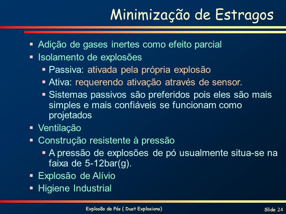 Explosão de Pós ( Dust Explosions) Slide 24 Minimização de Estragos Adição de gases inertes como efeito parcial Isolamento de explosões Passiva: ativa