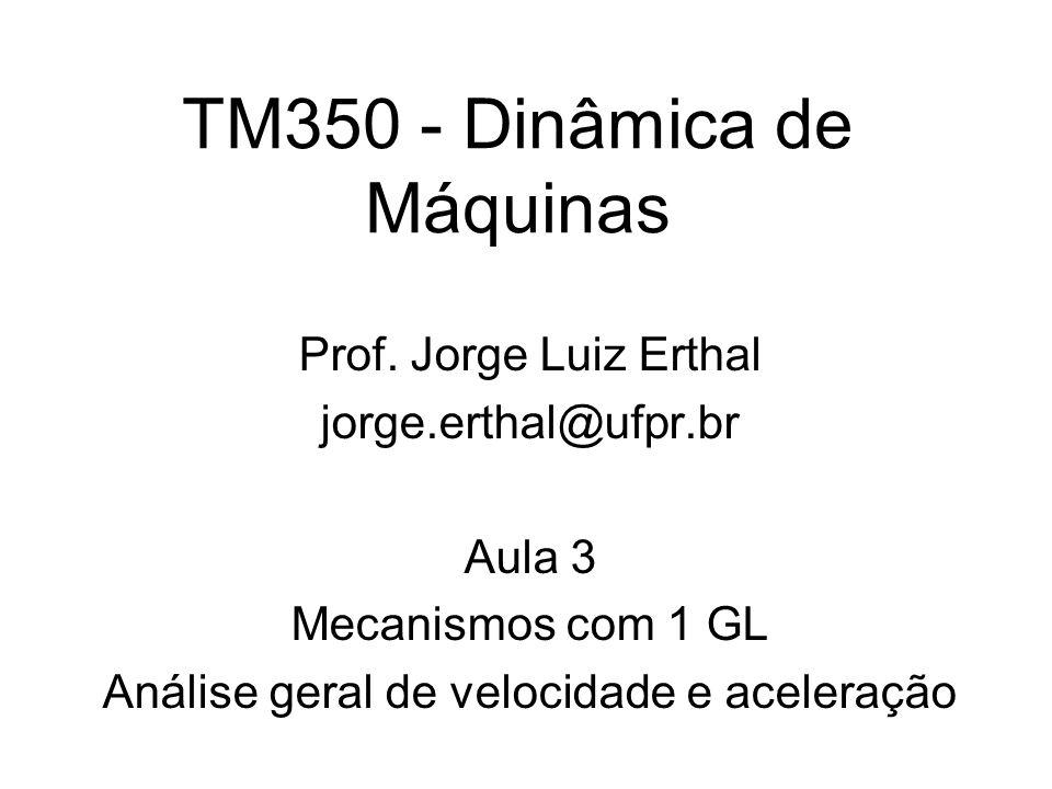 TM350 - Dinâmica de Máquinas Prof. Jorge Luiz Erthal jorge.erthal@ufpr.br Aula 3 Mecanismos com 1 GL Análise geral de velocidade e aceleração