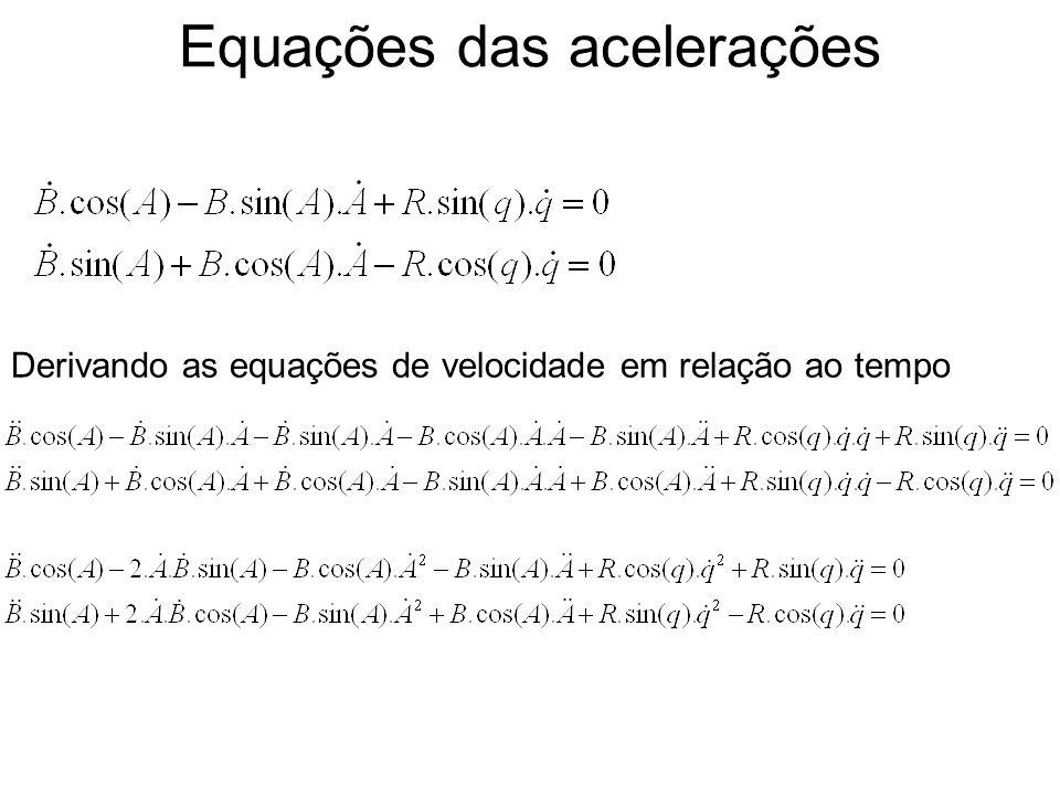 Equações das acelerações Derivando as equações de velocidade em relação ao tempo