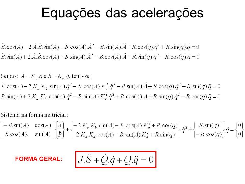 Equações das acelerações FORMA GERAL: