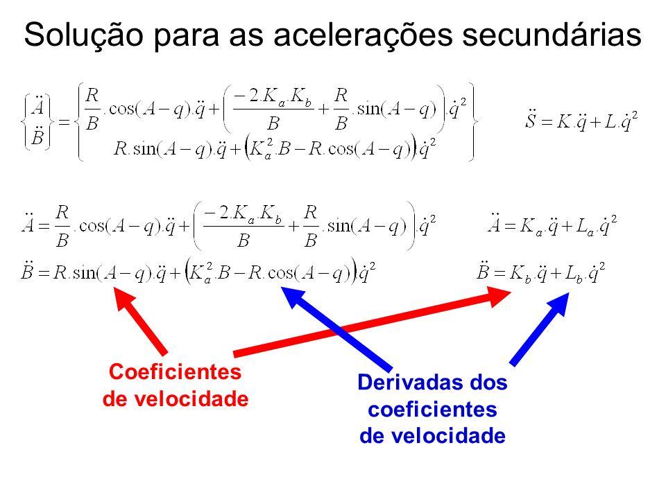 Coeficientes de velocidade Derivadas dos coeficientes de velocidade