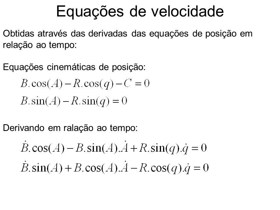 Equações de velocidade Obtidas através das derivadas das equações de posição em relação ao tempo: Equações cinemáticas de posição: Derivando em ralação ao tempo: