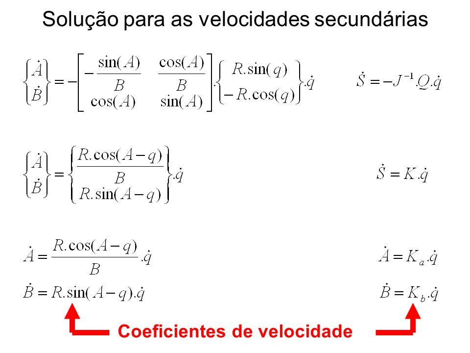 Solução para as velocidades secundárias Coeficientes de velocidade