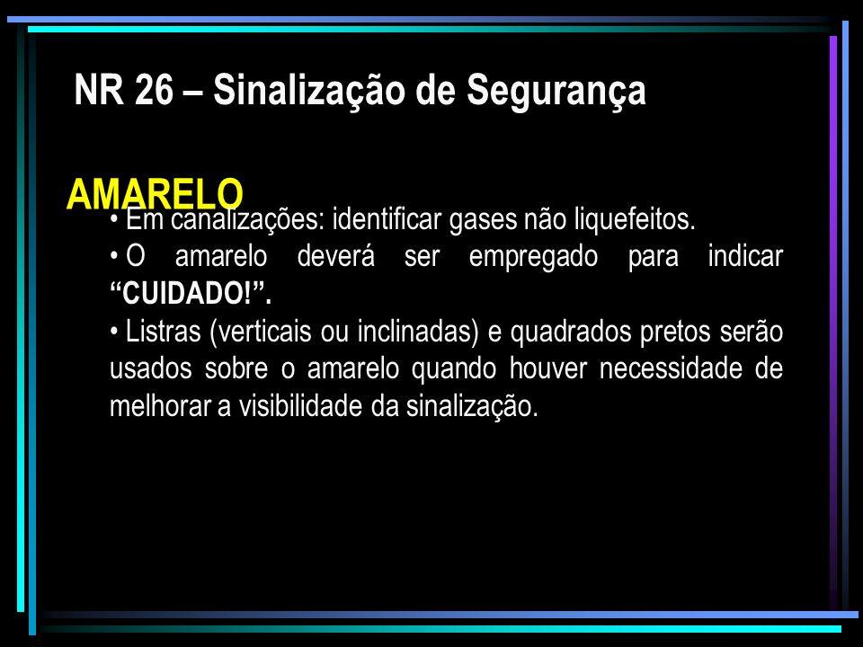 NR 26 – Sinalização de Segurança AMARELO Em canalizações: identificar gases não liquefeitos. O amarelo deverá ser empregado para indicar CUIDADO!. Lis
