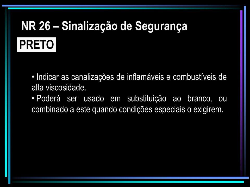 NR 26 – Sinalização de Segurança PRETO Indicar as canalizações de inflamáveis e combustíveis de alta viscosidade. Poderá ser usado em substituição ao