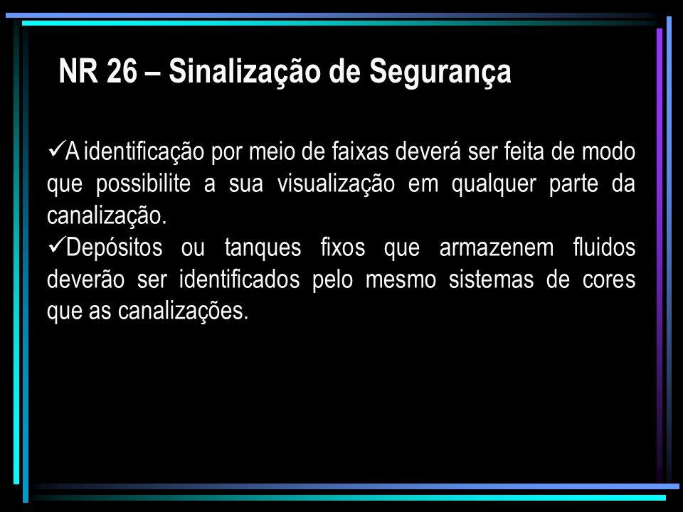 NR 26 – Sinalização de Segurança A identificação por meio de faixas deverá ser feita de modo que possibilite a sua visualização em qualquer parte da c