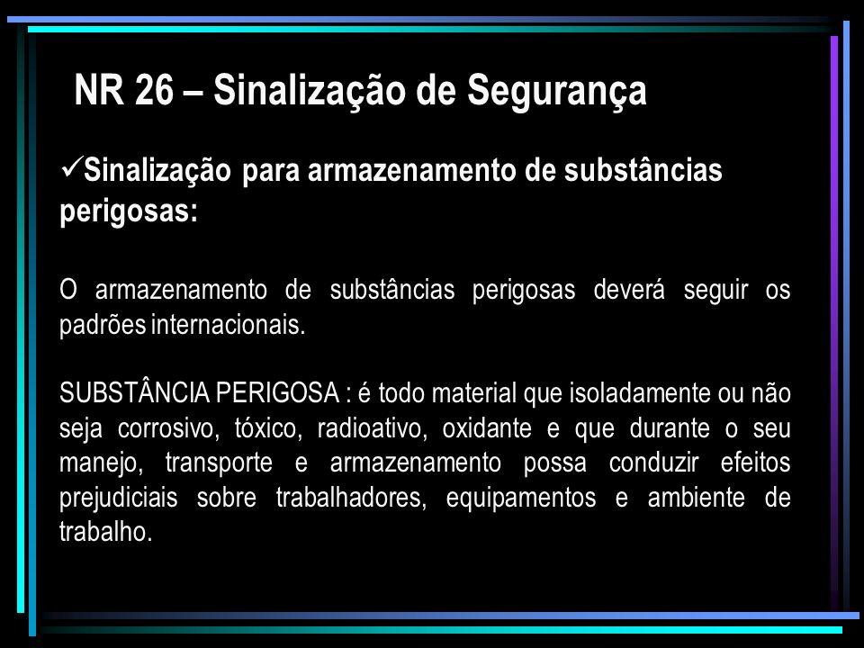 NR 26 – Sinalização de Segurança Sinalização para armazenamento de substâncias perigosas: O armazenamento de substâncias perigosas deverá seguir os pa
