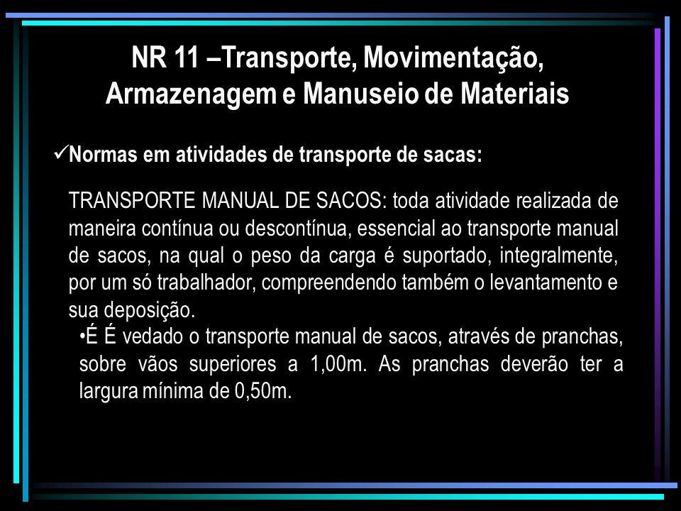 NR 11 –Transporte, Movimentação, Armazenagem e Manuseio de Materiais Fica estabelecida a distância máxima de 60,00m para o transporte manual de um saco.