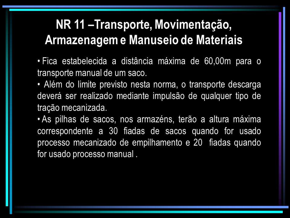 NR 11 –Transporte, Movimentação, Armazenagem e Manuseio de Materiais Fica estabelecida a distância máxima de 60,00m para o transporte manual de um sac
