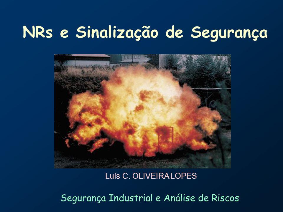 NRs e Sinalização de Segurança Slide 12 NR 20 – NR 20 – Líquidos combustíveis e inflamáveis líquido combustível TF igual ou superior a 70ºC e inferior a 93,3ºC (Classe III).