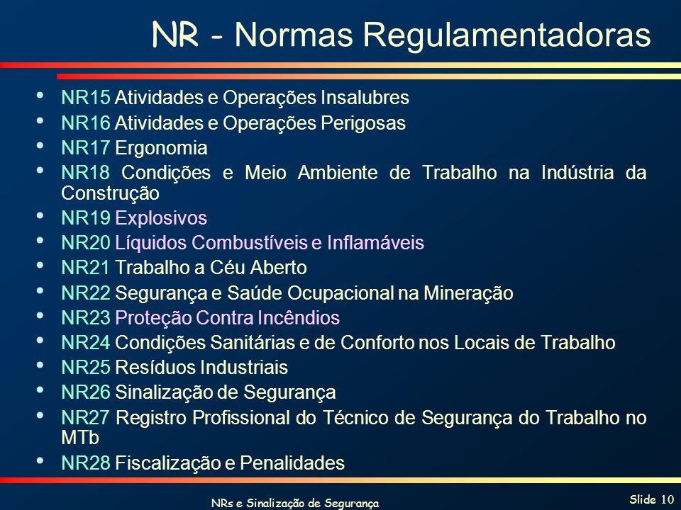 NRs e Sinalização de Segurança Slide 10 NR - Normas Regulamentadoras NR15 Atividades e Operações Insalubres NR16 Atividades e Operações Perigosas NR17