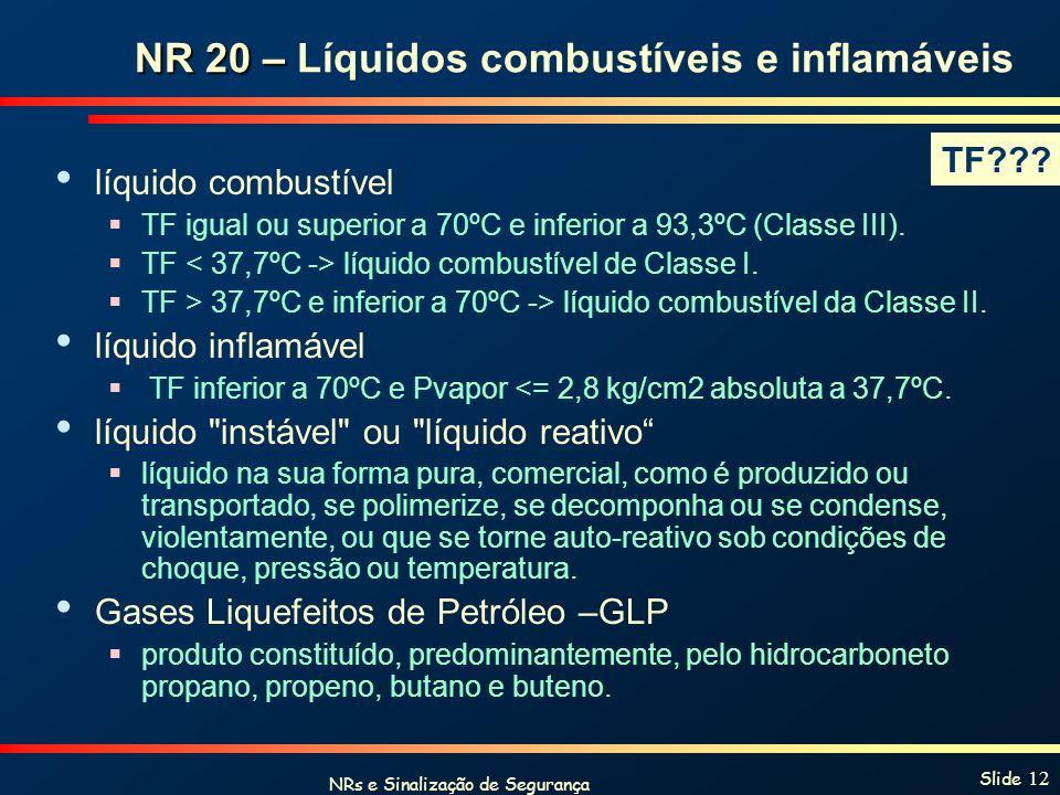 NRs e Sinalização de Segurança Slide 12 NR 20 – NR 20 – Líquidos combustíveis e inflamáveis líquido combustível TF igual ou superior a 70ºC e inferior