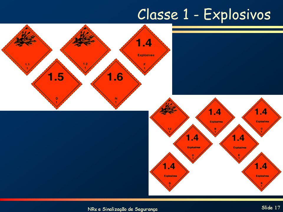 NRs e Sinalização de Segurança Slide 17 Classe 1 - Explosivos