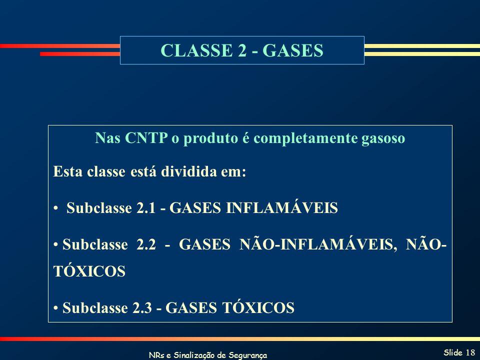 NRs e Sinalização de Segurança Slide 18 CLASSE 2 - GASES Nas CNTP o produto é completamente gasoso Esta classe está dividida em: Subclasse 2.1 - GASES