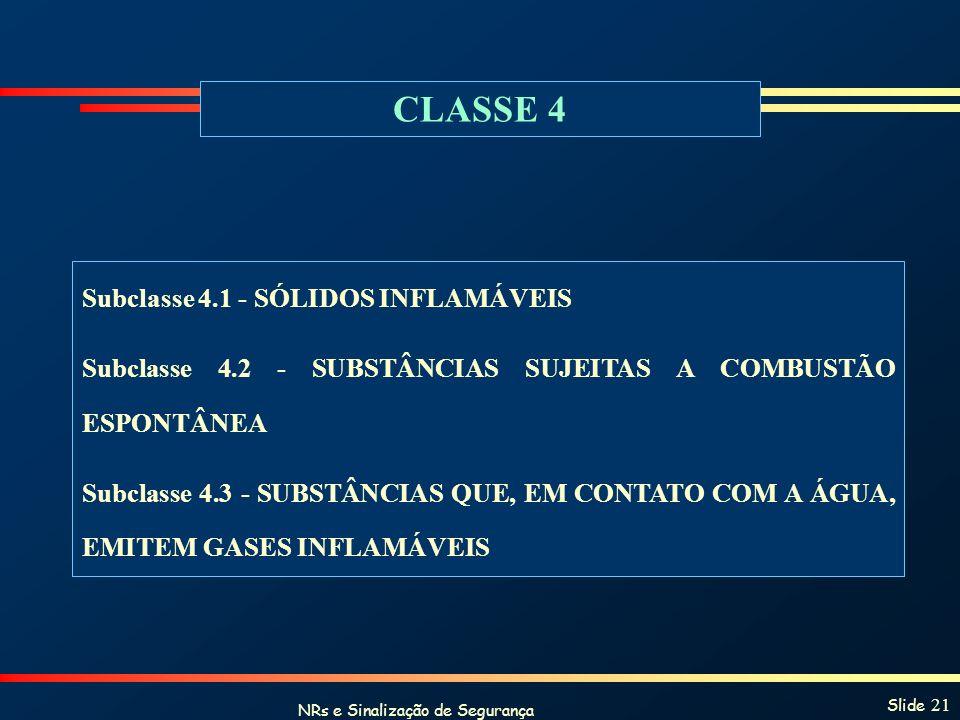 NRs e Sinalização de Segurança Slide 21 CLASSE 4 Subclasse 4.1 - SÓLIDOS INFLAMÁVEIS Subclasse 4.2 - SUBSTÂNCIAS SUJEITAS A COMBUSTÃO ESPONTÂNEA Subcl