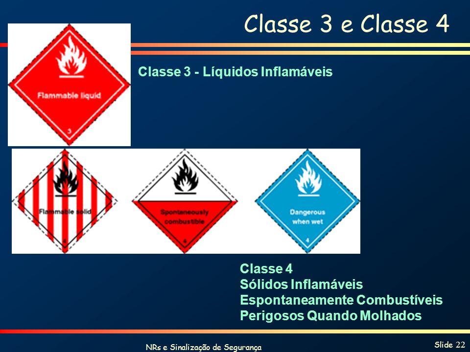 NRs e Sinalização de Segurança Slide 22 Classe 3 e Classe 4 Classe 3 - Líquidos Inflamáveis Classe 4 Sólidos Inflamáveis Espontaneamente Combustíveis