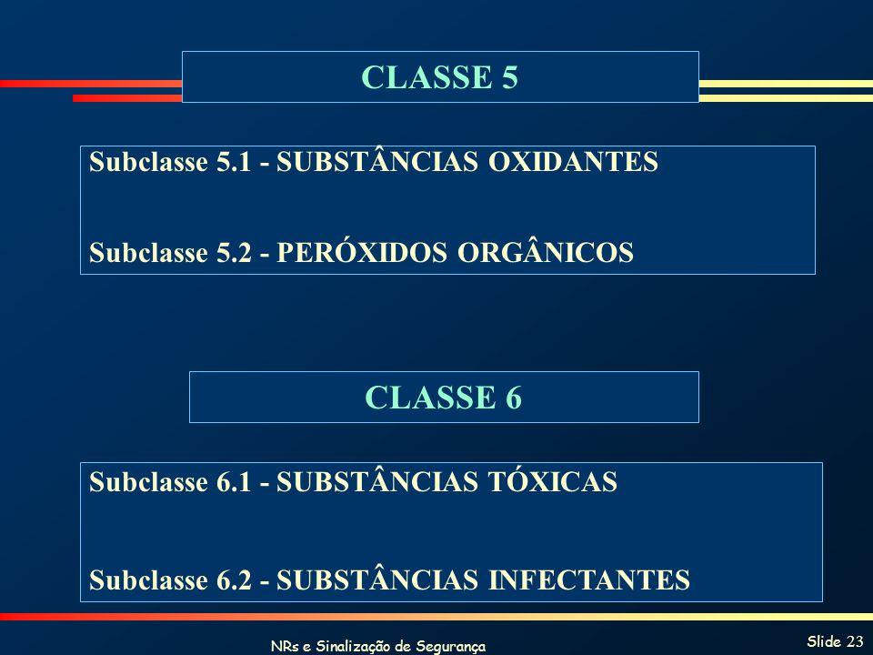 NRs e Sinalização de Segurança Slide 23 CLASSE 5 Subclasse 5.1 - SUBSTÂNCIAS OXIDANTES Subclasse 5.2 - PERÓXIDOS ORGÂNICOS CLASSE 6 Subclasse 6.1 - SU