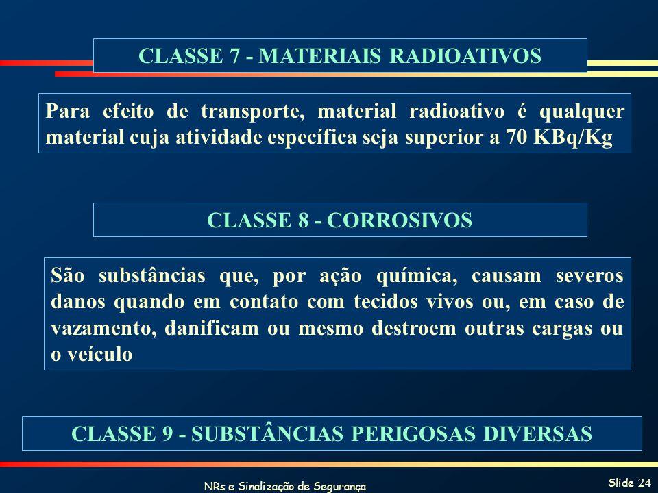 NRs e Sinalização de Segurança Slide 24 CLASSE 7 - MATERIAIS RADIOATIVOS Para efeito de transporte, material radioativo é qualquer material cuja ativi