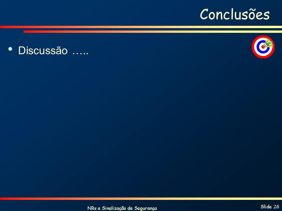 NRs e Sinalização de Segurança Slide 26 Conclusões Discussão …..