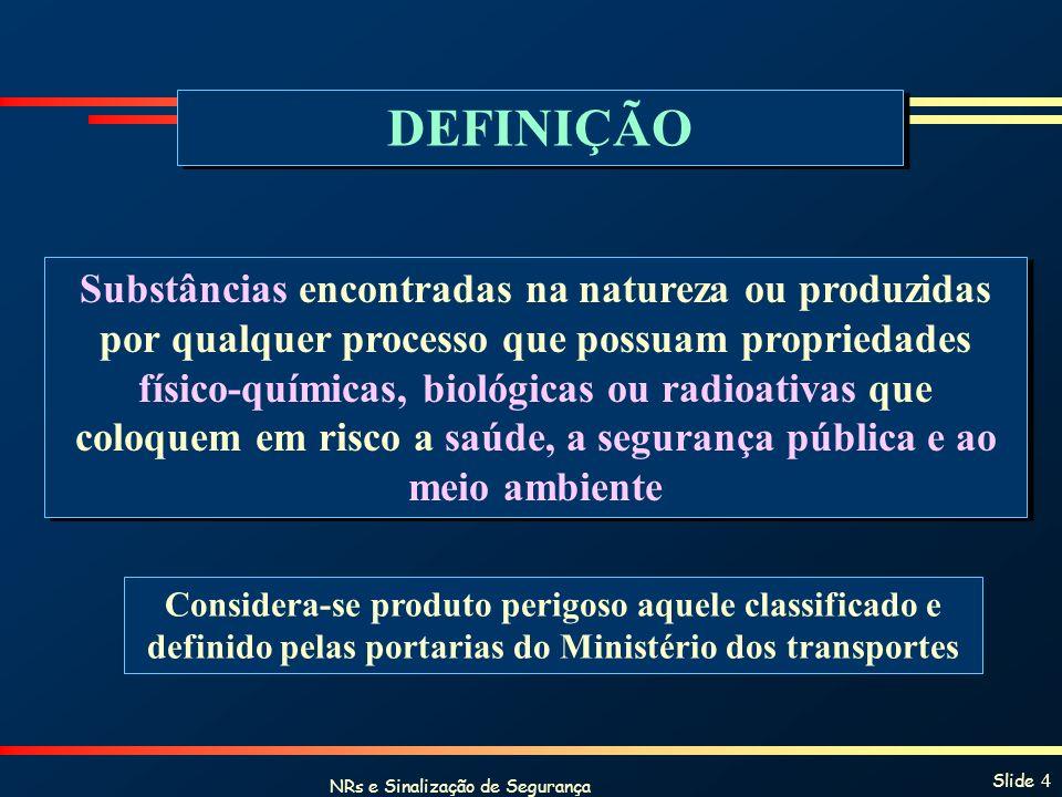 NRs e Sinalização de Segurança Slide 5 Propriedades Físico-químicas TemperaturaInflamabilidade PressãoPotencial de Oxidação ToxicidadeExplosividade CorrosividadeReação Espontânea TemperaturaInflamabilidade PressãoPotencial de Oxidação ToxicidadeExplosividade CorrosividadeReação Espontânea