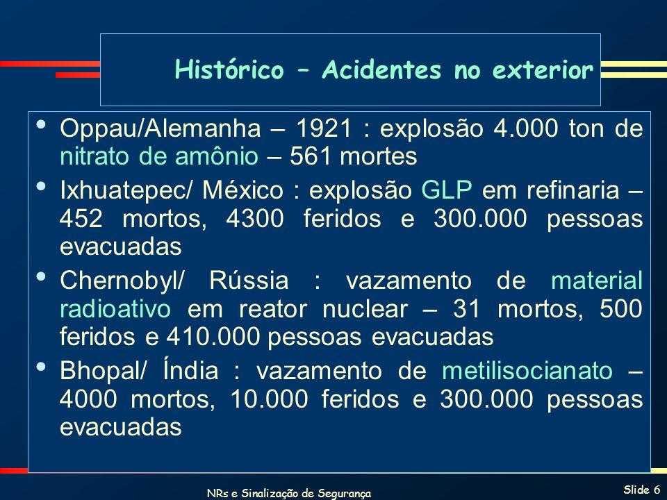 NRs e Sinalização de Segurança Slide 6 Histórico – Acidentes no exterior Oppau/Alemanha – 1921 : explosão 4.000 ton de nitrato de amônio – 561 mortes