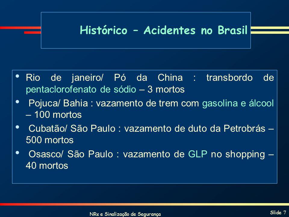 NRs e Sinalização de Segurança Slide 7 Rio de janeiro/ Pó da China : transbordo de pentaclorofenato de sódio – 3 mortos Pojuca/ Bahia : vazamento de t