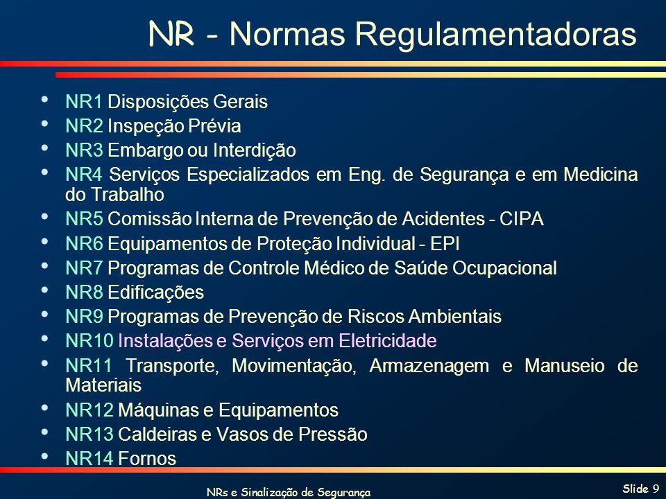 NRs e Sinalização de Segurança Slide 9 NR - Normas Regulamentadoras NR1 Disposições Gerais NR2 Inspeção Prévia NR3 Embargo ou Interdição NR4 Serviços