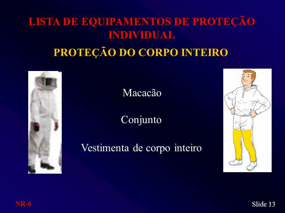 PROTEÇÃO DO CORPO INTEIRO LISTA DE EQUIPAMENTOS DE PROTEÇÃO INDIVIDUAL Macacão Conjunto Vestimenta de corpo inteiro Slide 13 NR-6