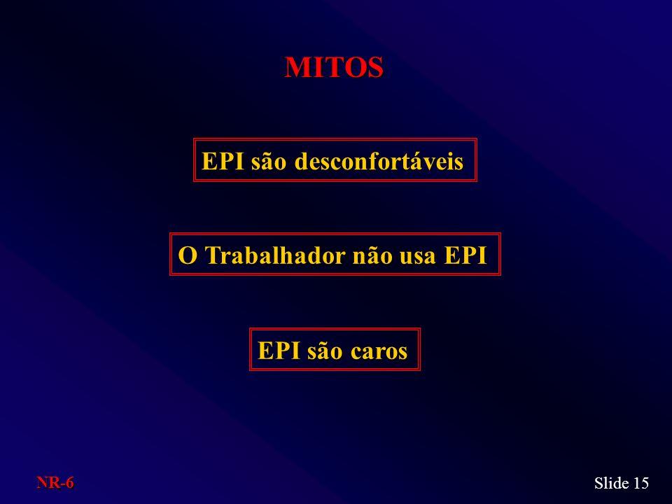 MITOS Slide 15 EPI são desconfortáveis O Trabalhador não usa EPI EPI são caros NR-6