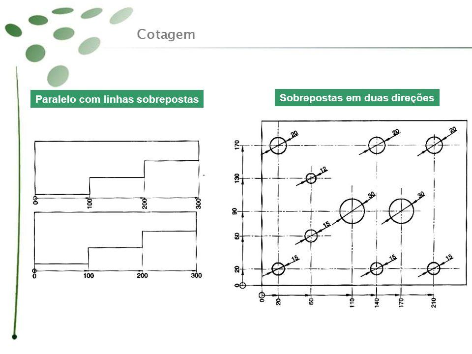 Cotagem Paralelo com linhas sobrepostas Sobrepostas em duas direções
